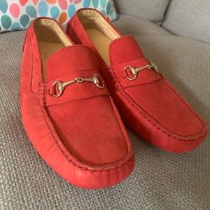 Cole Haan Red Suede Loafers, Size 10